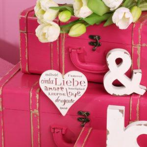 Dekorationsartikel, rosa Koffer